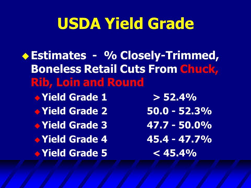 USDA Yield Grade u Estimates - % Closely-Trimmed, Boneless Retail Cuts From Chuck, Rib, Loin and Round u Yield Grade 1 > 52.4% u Yield Grade 250.0 - 52.3% u Yield Grade 347.7 - 50.0% u Yield Grade 445.4 - 47.7% u Yield Grade 5 < 45.4%