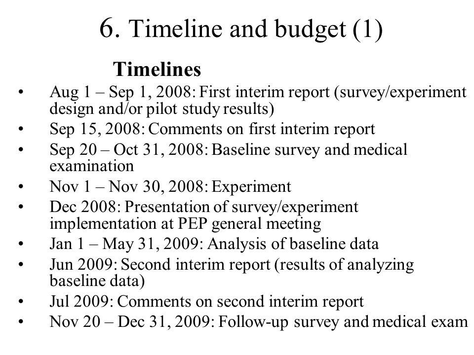 6. Timeline and budget (1) Timelines Aug 1 – Sep 1, 2008: First interim report (survey/experiment design and/or pilot study results) Sep 15, 2008: Com