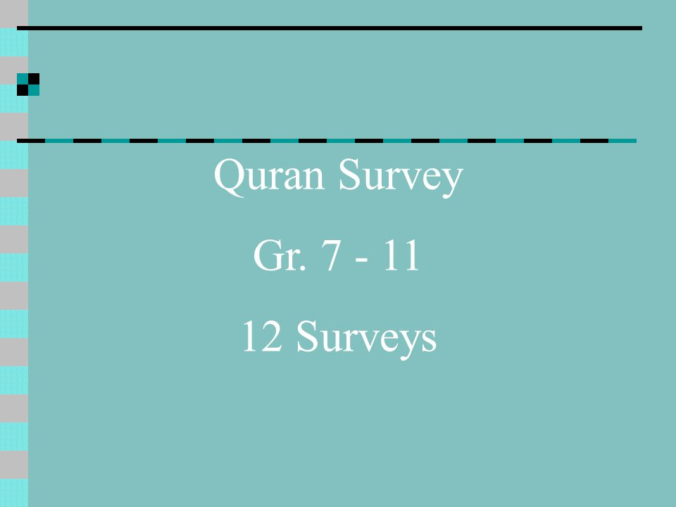 Quran Survey Gr. 7 - 11 12 Surveys