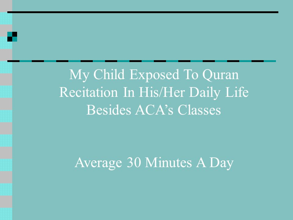 My Child Exposed To Quran Recitation In His/Her Daily Life Besides ACA's Classes Average 30 Minutes A Day
