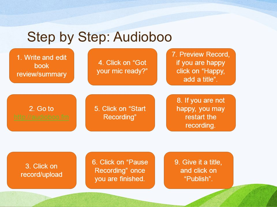 Step by Step: Audioboo 1. Write and edit book review/summary 2.