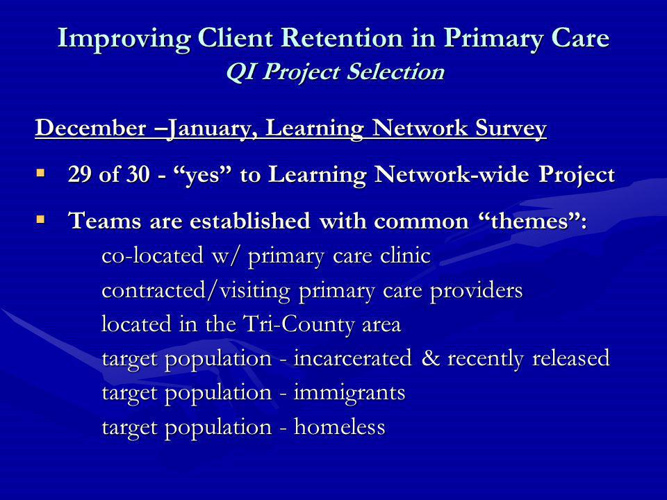 December –January, Learning Network Survey  29 of 30 - yes to Learning Network-wide Project  Teams are established with common themes : co-located w/ primary care clinic contracted/visiting primary care providers located in the Tri-County area target population - incarcerated & recently released target population - immigrants target population - homeless Improving Client Retention in Primary Care QI Project Selection