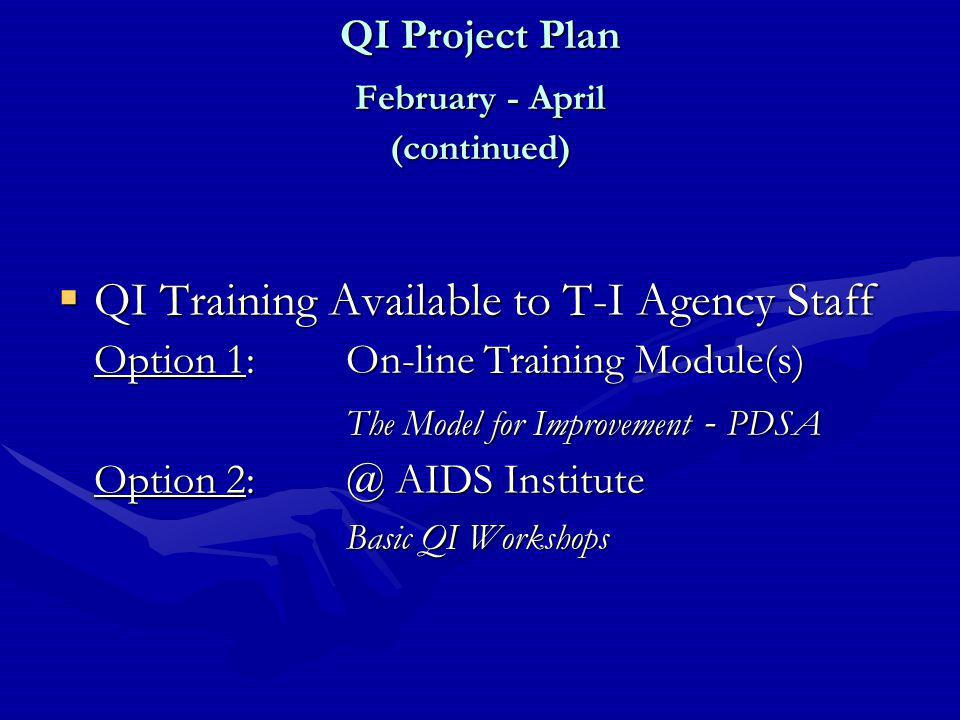 QI Project Plan February - April (continued)  QI Training Available to T-I Agency Staff Option 1: On-line Training Module(s) The Model for Improvement - PDSA Option 2: @ AIDS Institute Basic QI Workshops