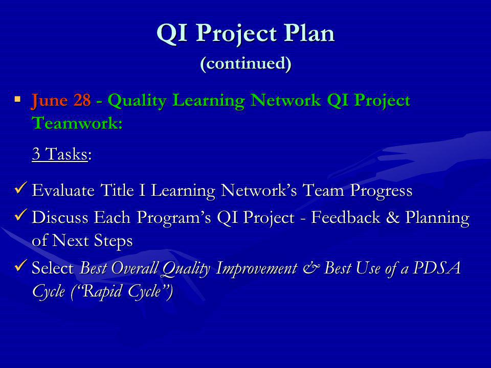 QI Project Plan (continued)  June 28 - Quality Learning Network QI Project Teamwork: 3 Tasks: Evaluate Title I Learning Network's Team Progress Evaluate Title I Learning Network's Team Progress Discuss Each Program's QI Project - Feedback & Planning of Next Steps Discuss Each Program's QI Project - Feedback & Planning of Next Steps Select Best Overall Quality Improvement & Best Use of a PDSA Cycle ( Rapid Cycle ) Select Best Overall Quality Improvement & Best Use of a PDSA Cycle ( Rapid Cycle )