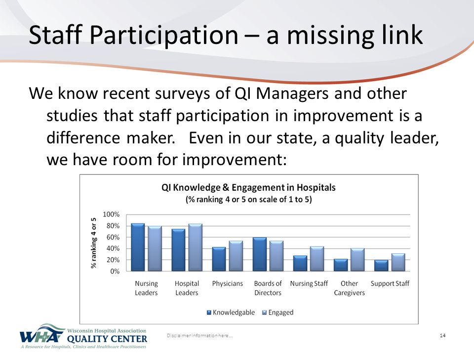 Disclaimer information here… Click to edit Master title styleStaff Participation – a missing link We know recent surveys of QI Managers and other stud