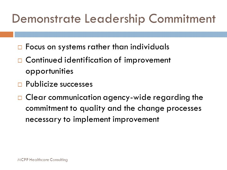 Demonstrate Leadership Commitment  Focus on systems rather than individuals  Continued identification of improvement opportunities  Publicize successes  Clear communication agency-wide regarding the commitment to quality and the change processes necessary to implement improvement MCPP Healthcare Consulting
