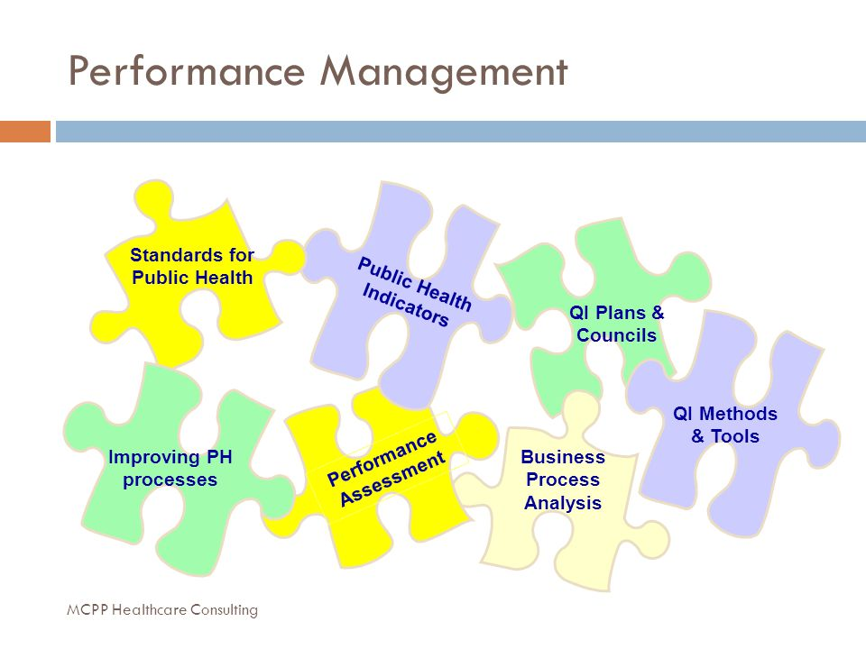 Performance Management QI Plans & Councils Business Process Analysis Public Health Indicators Standards for Public Health Performance Assessment Improving PH processes QI Methods & Tools MCPP Healthcare Consulting