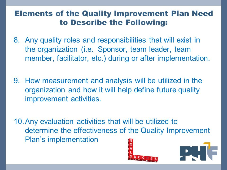 Elements of the Quality Improvement Plan Need to Describe the Following: 8.Any quality roles and responsibilities that will exist in the organization