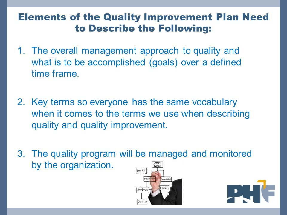Elements of the Quality Improvement Plan Need to Describe the Following: 4.The process for selecting quality improvement projects and selecting team leaders.