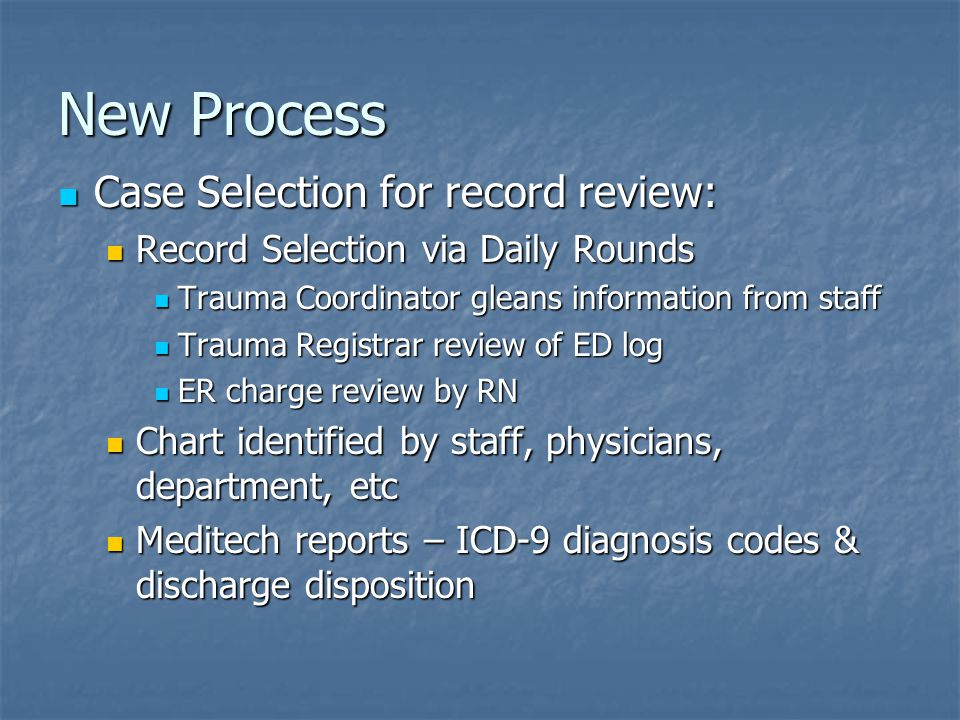 New Process Case Selection for record review: Case Selection for record review: Record Selection via Daily Rounds Record Selection via Daily Rounds Tr
