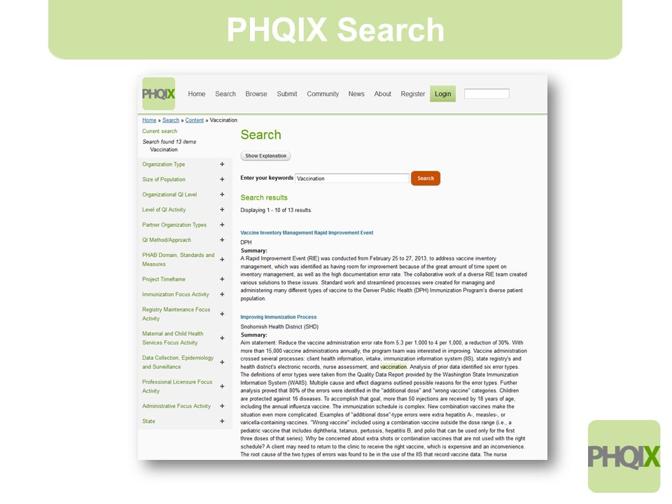 7 PHQIX Search