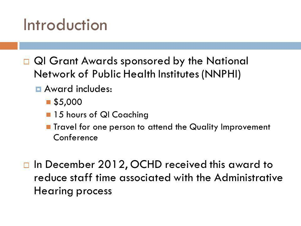 Introduction  QI Grant Awards sponsored by the National Network of Public Health Institutes (NNPHI)  Award includes: $5,000 15 hours of QI Coaching Travel for one person to attend the Quality Improvement Conference  In December 2012, OCHD received this award to reduce staff time associated with the Administrative Hearing process