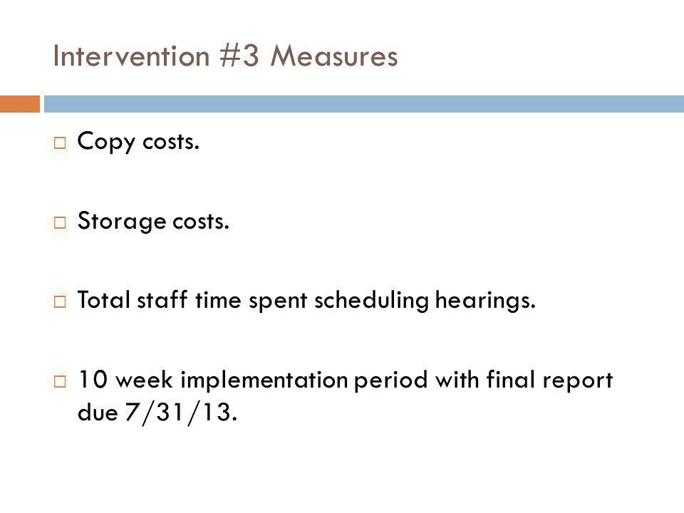 Intervention #3 Measures  Copy costs.  Storage costs.