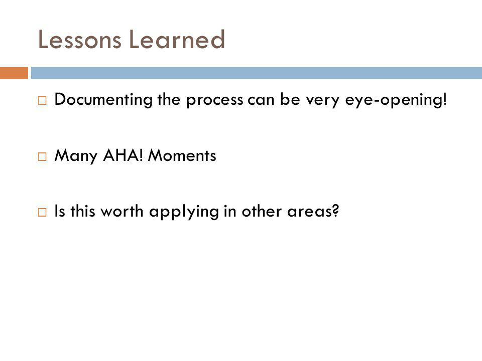 Lessons Learned  Documenting the process can be very eye-opening.
