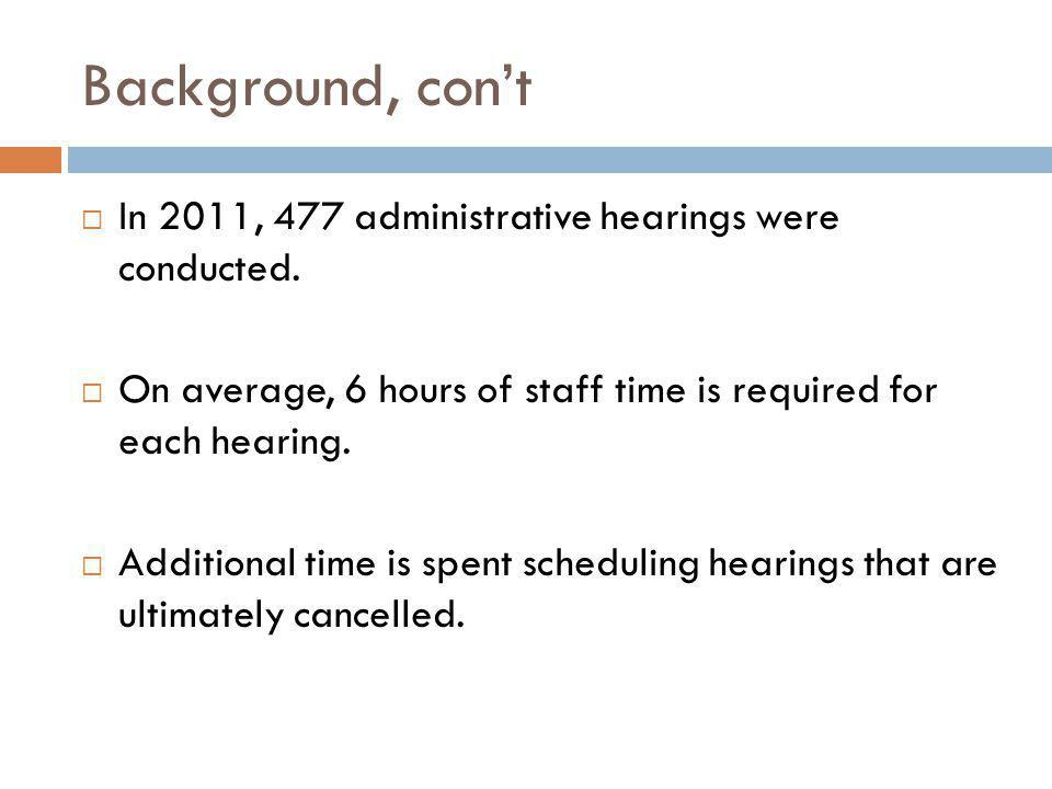 Background, con't  In 2011, 477 administrative hearings were conducted.