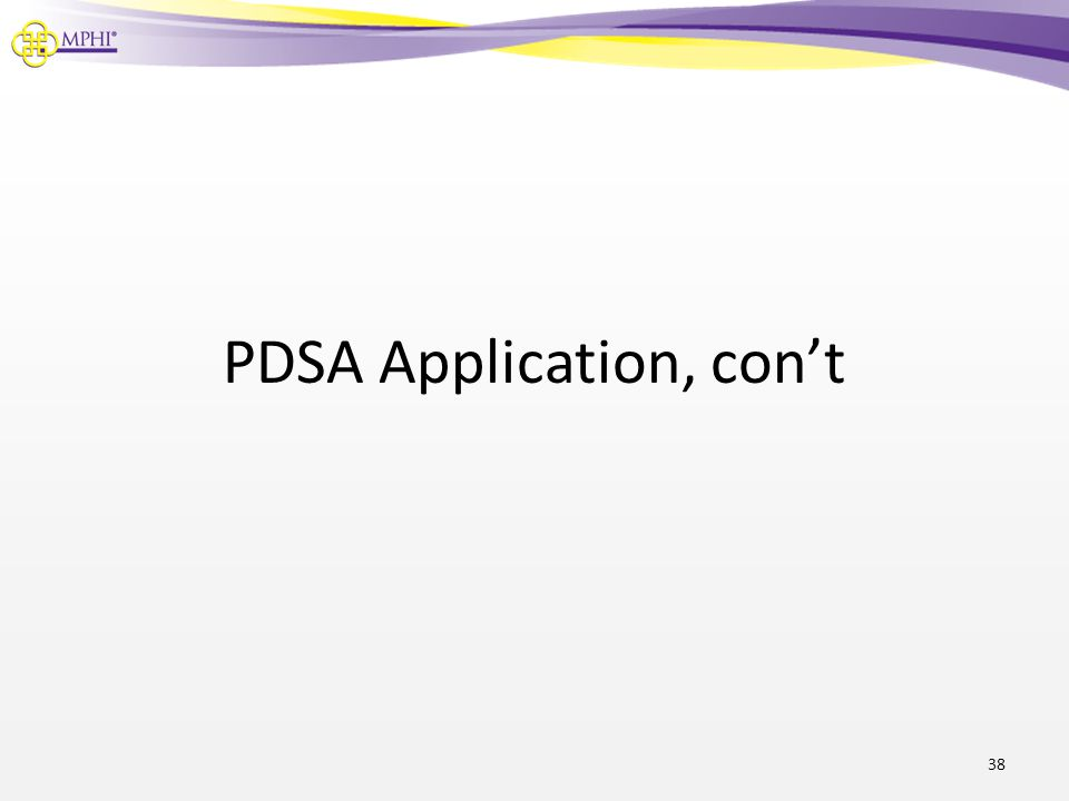 PDSA Application, con't 38