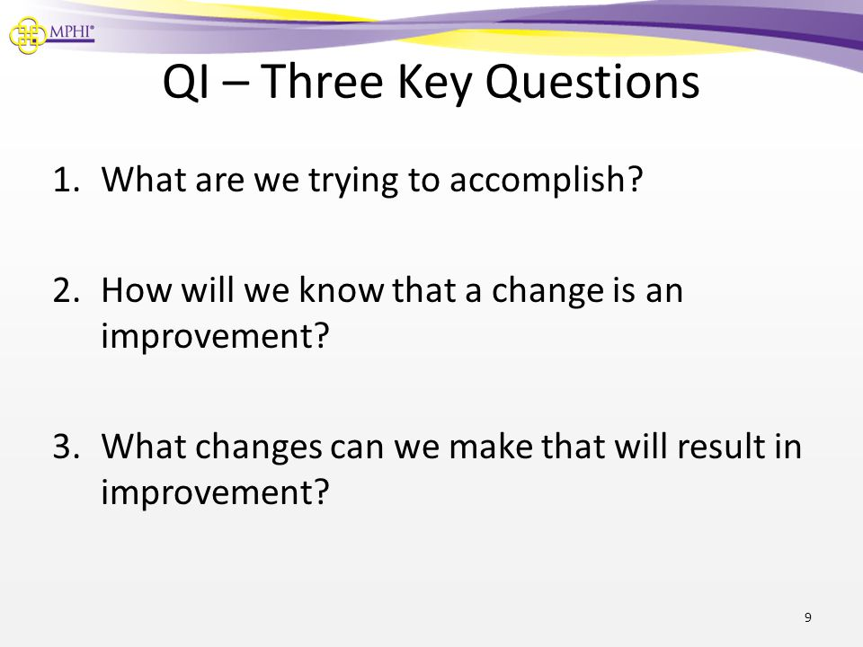 QI – Three Key Questions 1.What are we trying to accomplish.
