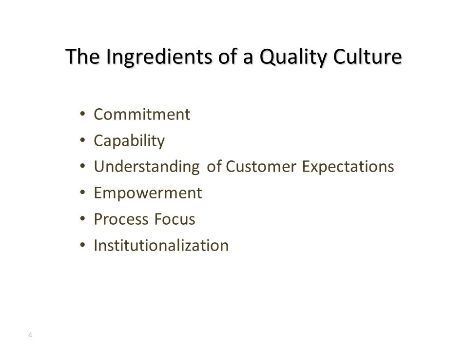 4 The Ingredients of a Quality Culture Commitment Capability Understanding of Customer Expectations Empowerment Process Focus Institutionalization
