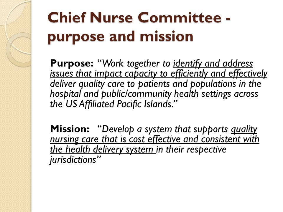 Chief Nurse Committee - purpose and mission Purpose: Work together to identify and address issues that impact capacity to efficiently and effectively deliver quality care to patients and populations in the hospital and public/community health settings across the US Affiliated Pacific Islands. Mission: Develop a system that supports quality nursing care that is cost effective and consistent with the health delivery system in their respective jurisdictions