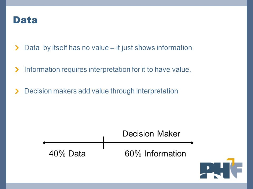 Data Data by itself has no value – it just shows information. Information requires interpretation for it to have value. Decision makers add value thro