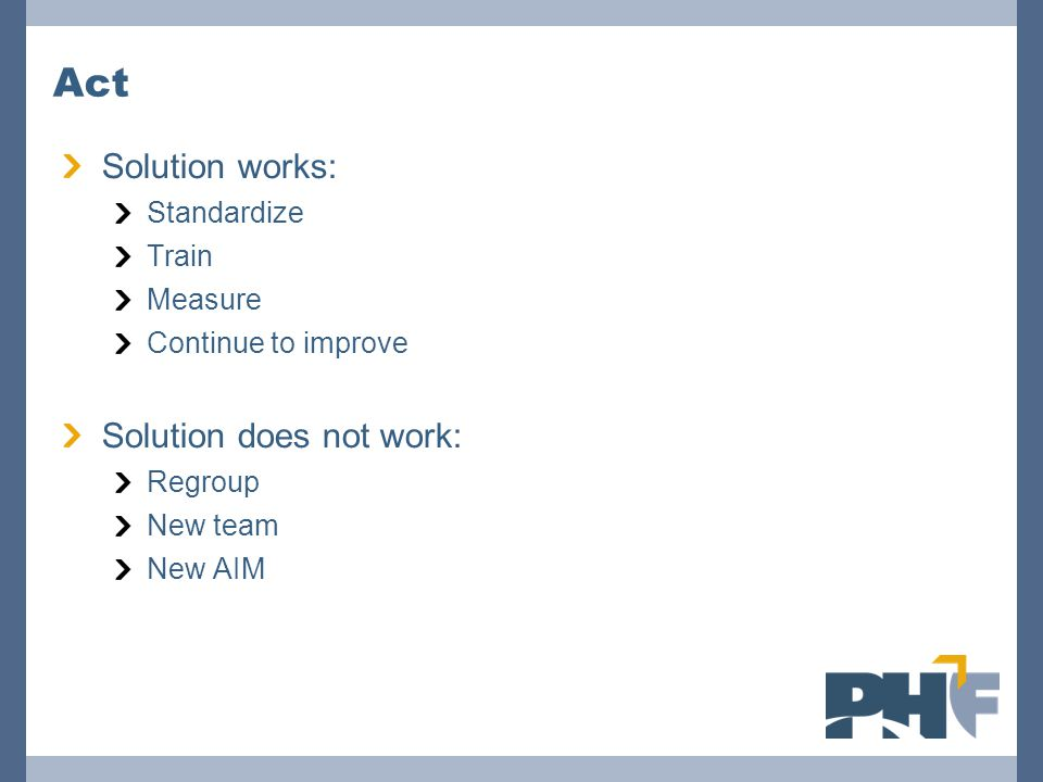 Act Solution works: Standardize Train Measure Continue to improve Solution does not work: Regroup New team New AIM