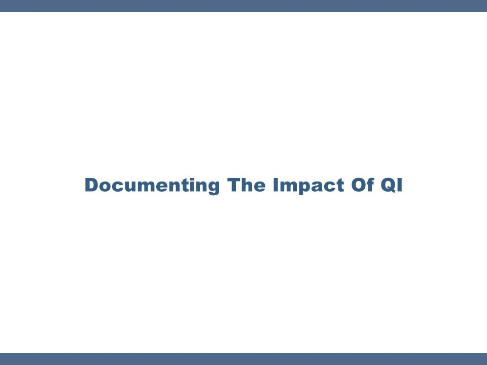 Documenting The Impact Of QI