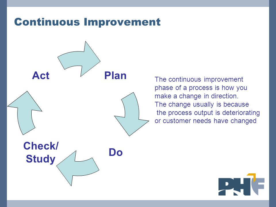 Continuous Improvement Plan Do Check/ Study Act The continuous improvement phase of a process is how you make a change in direction. The change usuall