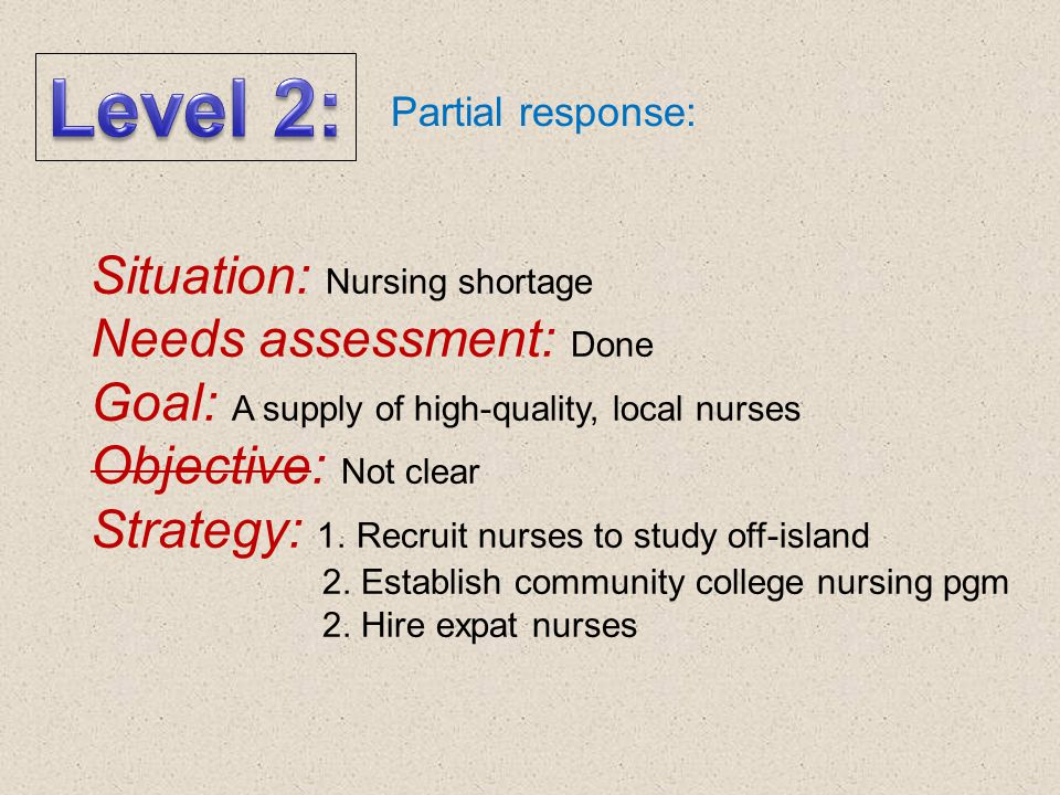 Needs assessment: Not done Goal: Not clear Objective: Not clear Strategy: 1. Train practical nurses whenever shortage becomes acute 2. Hire nurses off