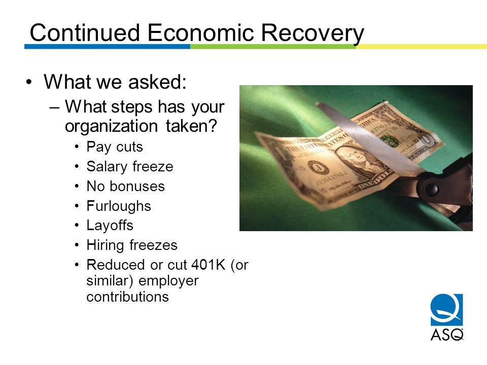 Continued Economic Recovery What we asked: –What steps has your organization taken.