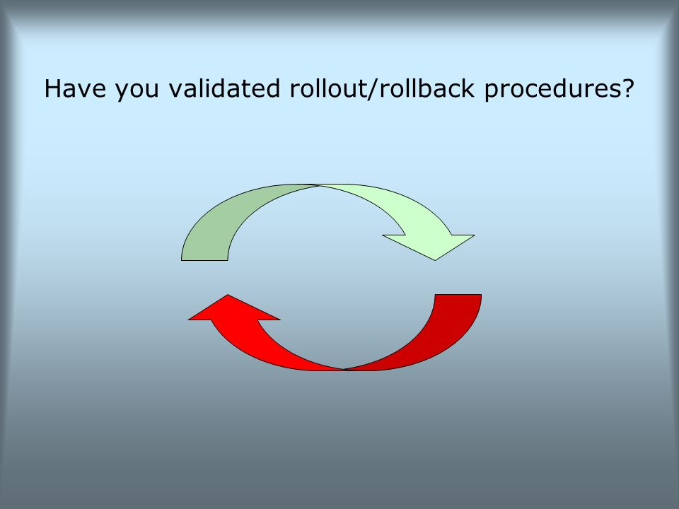 Have you validated rollout/rollback procedures?