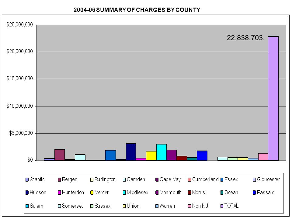 22,838,703. 2004-06 SUMMARY OF CHARGES BY COUNTY