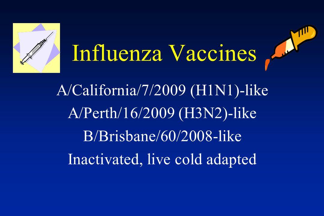 Influenza Vaccines A/California/7/2009 (H1N1)-like A/Perth/16/2009 (H3N2)-like B/Brisbane/60/2008-like Inactivated, live cold adapted