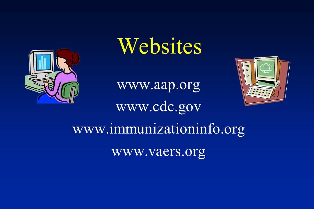 Websites www.aap.org www.cdc.gov www.immunizationinfo.org www.vaers.org