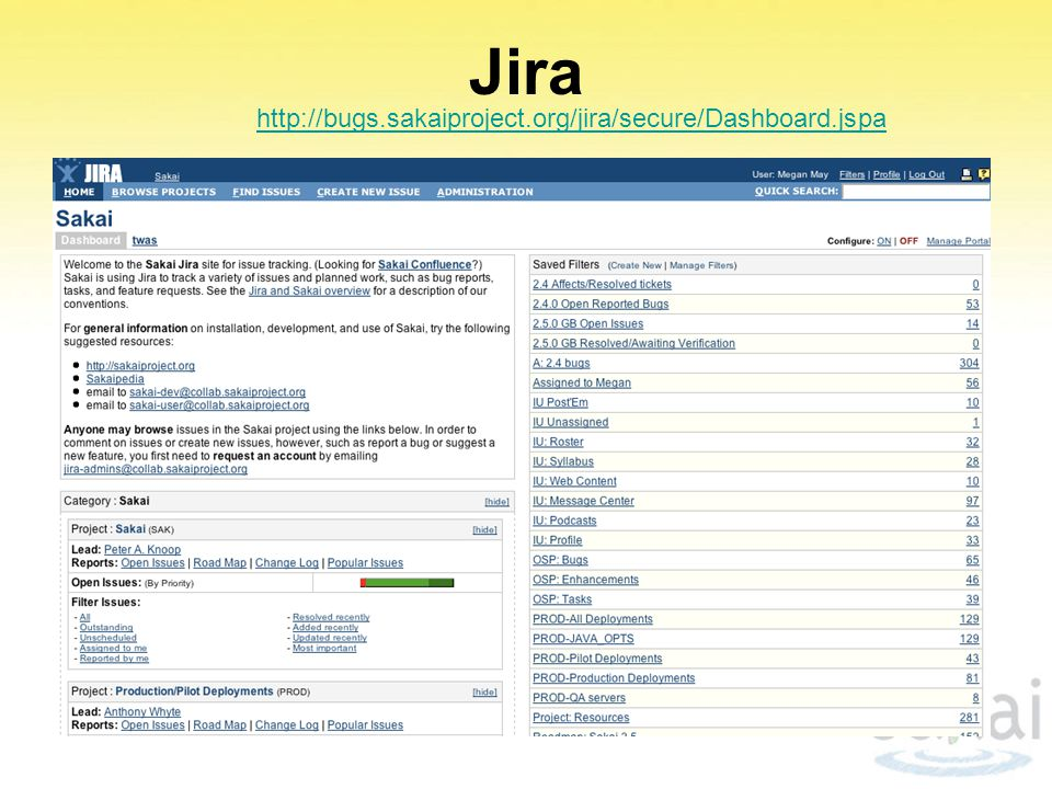 Jira http://bugs.sakaiproject.org/jira/secure/Dashboard.jspa