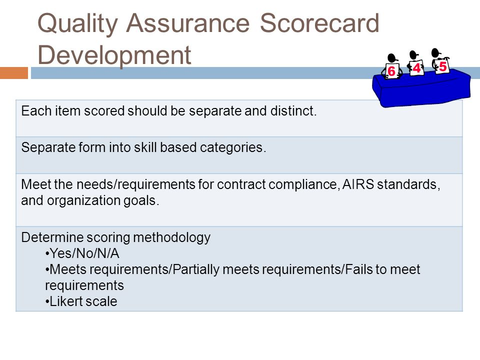 Quality Assurance Scorecard Development Each item scored should be separate and distinct.