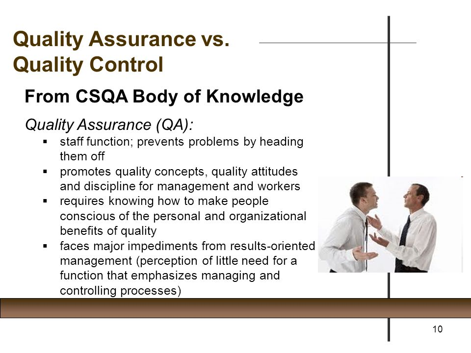 From CSQA Body of Knowledge Quality Assurance (QA):  staff function; prevents problems by heading them off  promotes quality concepts, quality attit