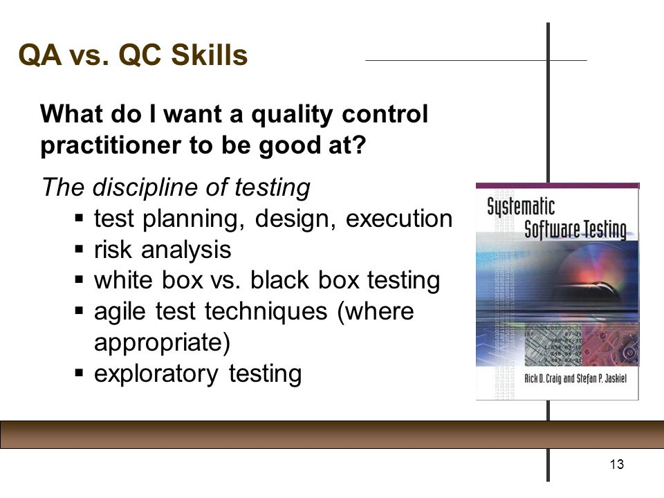 What do I want a quality control practitioner to be good at? The discipline of testing  test planning, design, execution  risk analysis  white box