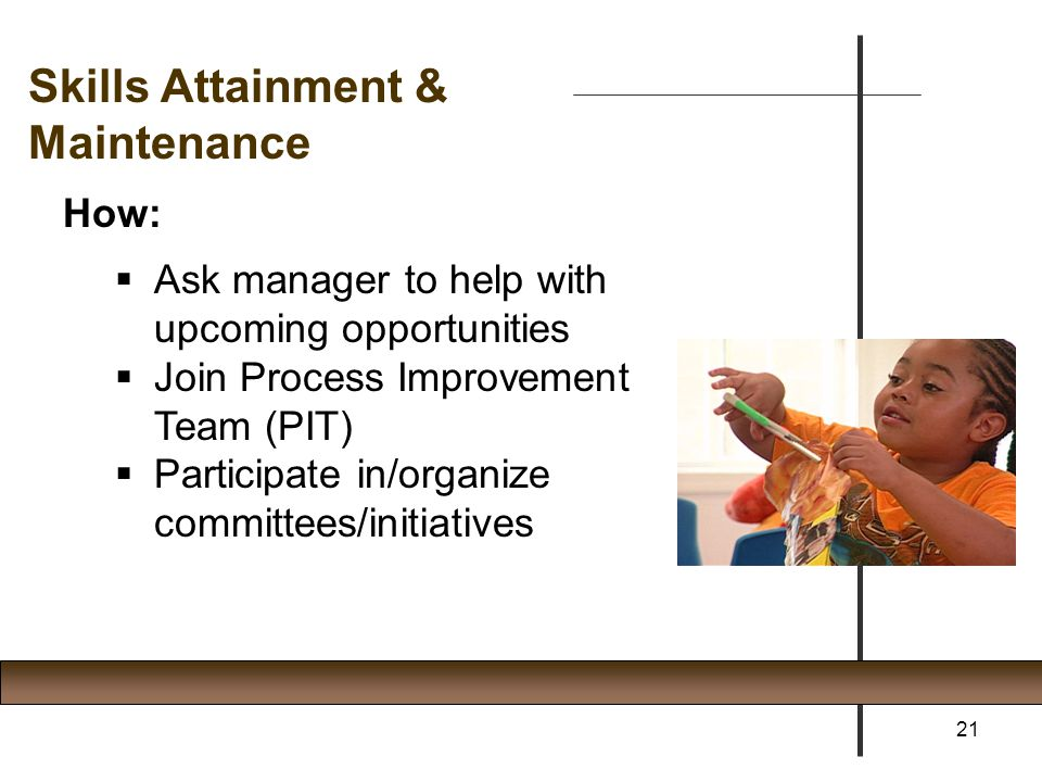 How:  Ask manager to help with upcoming opportunities  Join Process Improvement Team (PIT)  Participate in/organize committees/initiatives 21 Skill