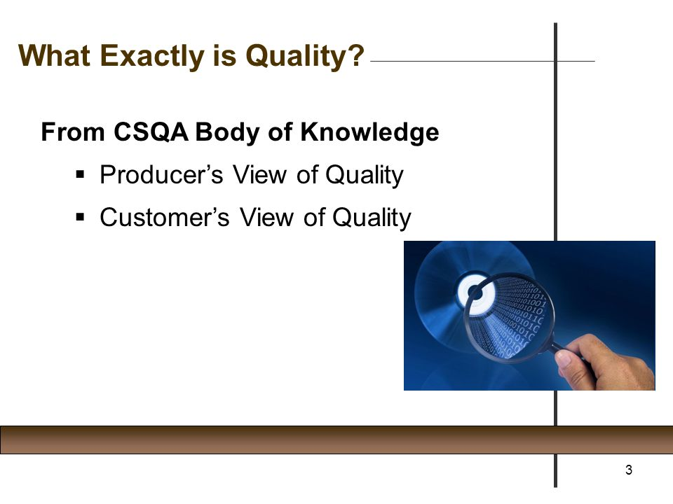 From CSQA Body of Knowledge  Producer's View of Quality Doing the right thing Doing it the right way Doing it right the first time Doing it on time without exceeding cost  Customer's View of Quality 4 What Exactly is Quality?