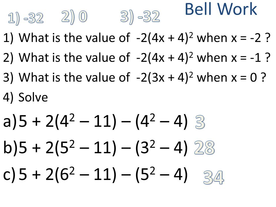 Bell Work 1)What is the value of -2(4x + 4) 2 when x = -2 ? 2)What is the value of -2(4x + 4) 2 when x = -1 ? 3)What is the value of -2(3x + 4) 2 when