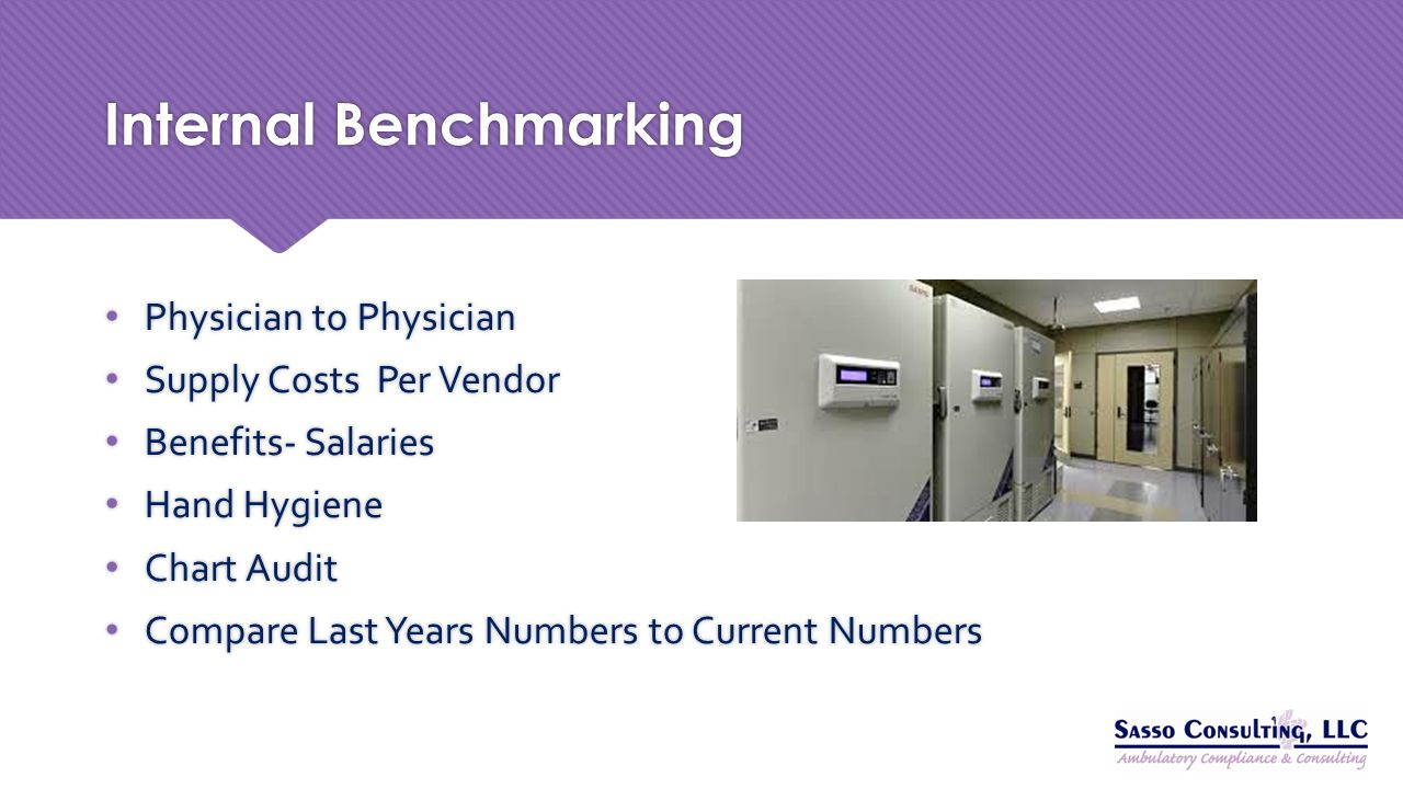 Internal Benchmarking Physician to Physician Supply Costs Per Vendor Benefits- Salaries Hand Hygiene Chart Audit Compare Last Years Numbers to Current