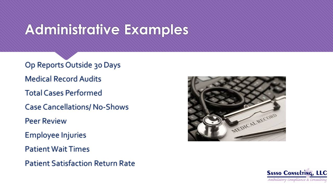 Administrative Examples Op Reports Outside 30 Days Medical Record Audits Total Cases Performed Case Cancellations/ No-Shows Peer Review Employee Injur