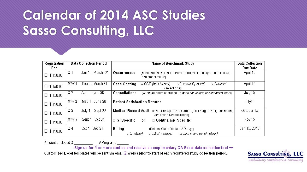 Calendar of 2014 ASC Studies Sasso Consulting, LLC
