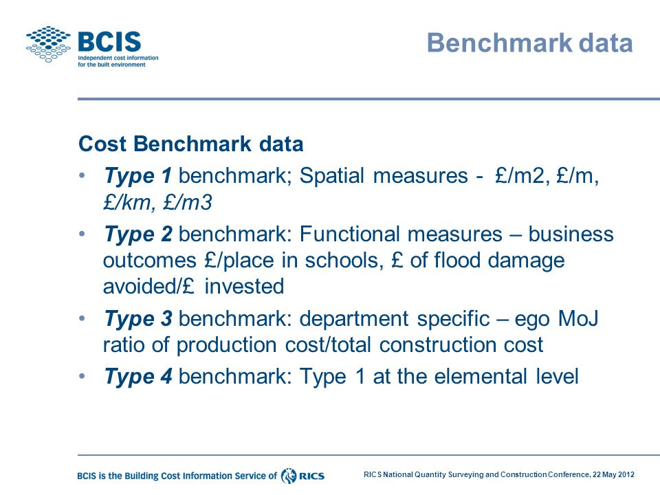 RICS National Quantity Surveying and Construction Conference, 22 May 2012 Benchmark data Cost Benchmark data Type 1 benchmark; Spatial measures - £/m2