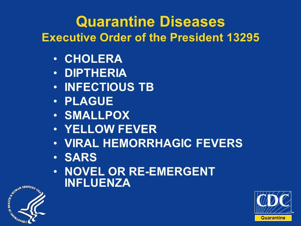 Quarantine TM Quarantine Diseases Executive Order of the President 13295 CHOLERA DIPTHERIA INFECTIOUS TB PLAGUE SMALLPOX YELLOW FEVER VIRAL HEMORRHAGIC FEVERS SARS NOVEL OR RE-EMERGENT INFLUENZA