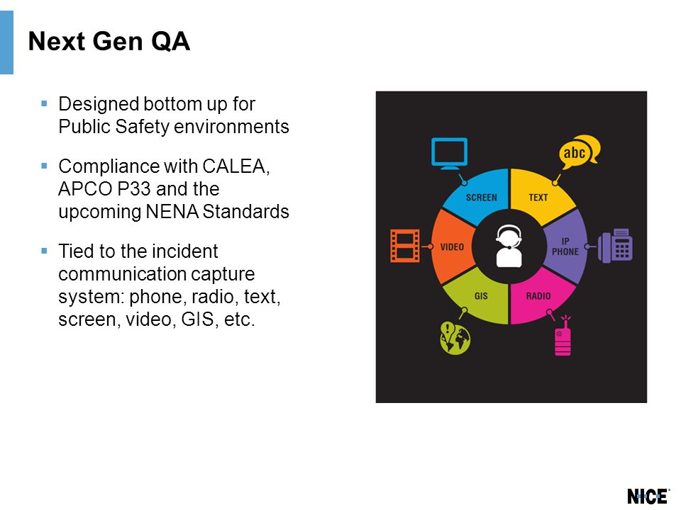 Next Gen QA  Designed bottom up for Public Safety environments  Compliance with CALEA, APCO P33 and the upcoming NENA Standards  Tied to the incident communication capture system: phone, radio, text, screen, video, GIS, etc.