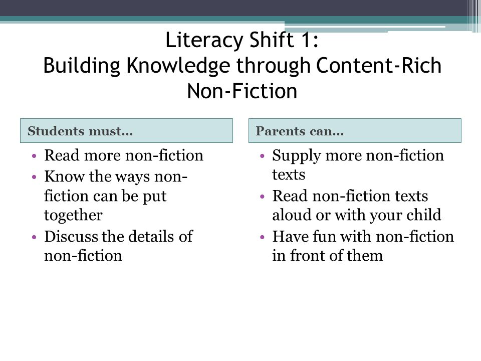 Literacy Shift 1: Building Knowledge through Content-Rich Non-Fiction Students must…Parents can… Read more non-fiction Know the ways non- fiction can be put together Discuss the details of non-fiction Supply more non-fiction texts Read non-fiction texts aloud or with your child Have fun with non-fiction in front of them
