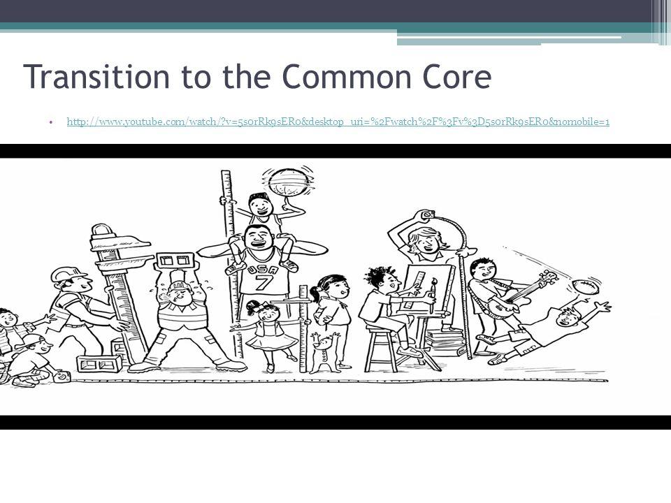 Transition to the Common Core http://www.youtube.com/watch/?v=5s0rRk9sER0&desktop_uri=%2Fwatch%2F%3Fv%3D5s0rRk9sER0&nomobile=1