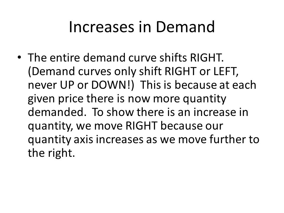Increases in Demand The entire demand curve shifts RIGHT. (Demand curves only shift RIGHT or LEFT, never UP or DOWN!) This is because at each given pr