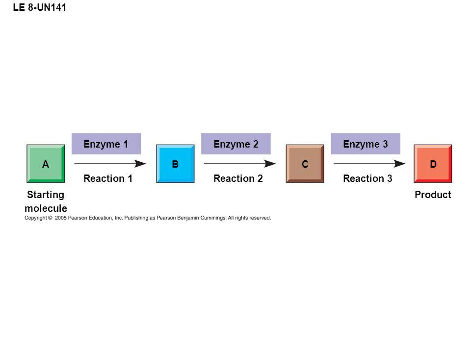LE 8-UN141 Enzyme 1 AB Reaction 1 Enzyme 2 C Reaction 2 Enzyme 3 D Reaction 3 Product Starting molecule